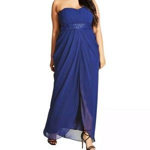 Formal Plus Size Dresses 16W Blue Removable Straps